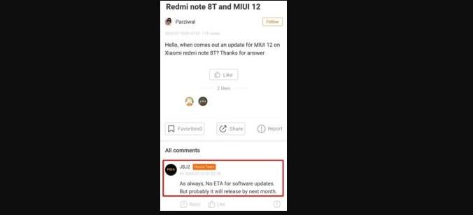 Стала відома дата виходу MIUI 12 для Redmi Note 8 і Note 8T