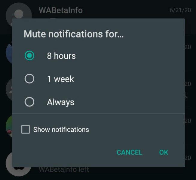 У WhatsApp можна буде назавжди відключити повідомлення в групових чатах
